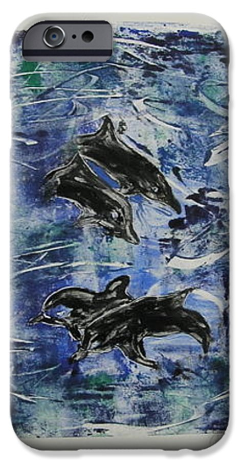 Monotype IPhone 6s Case featuring the mixed media The Deep Sea by Cori Solomon