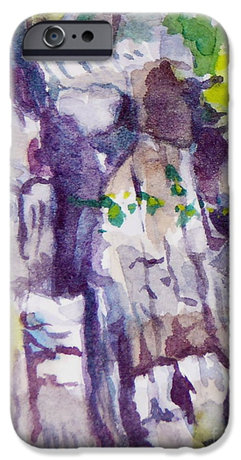 Purple IPhone 6s Case featuring the painting The Little Climbing Wall by Jan Bennicoff
