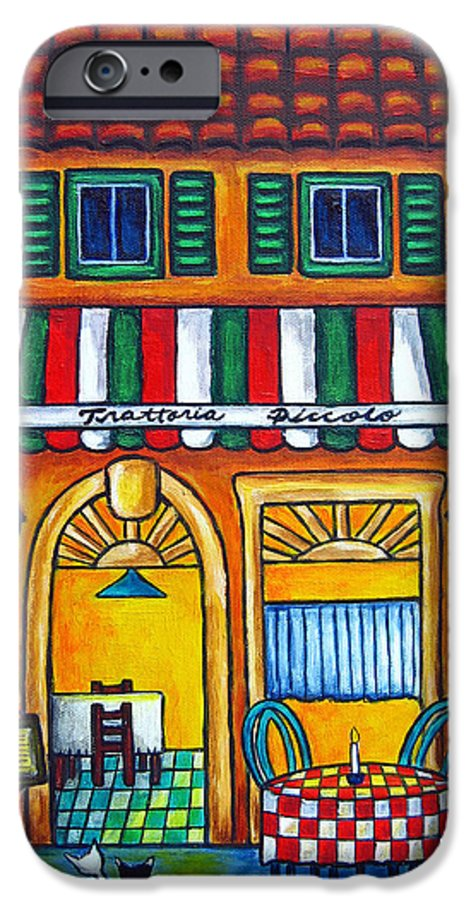 Blue IPhone 6s Case featuring the painting The Little Trattoria by Lisa Lorenz