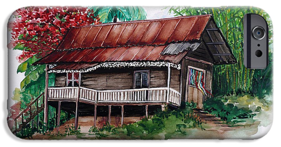 Tropical Painting Poincianna Painting Caribbean Painting Old House Painting Cocoa House Painting Trinidad And Tobago Painting  Tropical Painting Flamboyant Painting Poinciana Red Greeting Card Painting IPhone 6s Case featuring the painting The Old Cocoa House by Karin Dawn Kelshall- Best