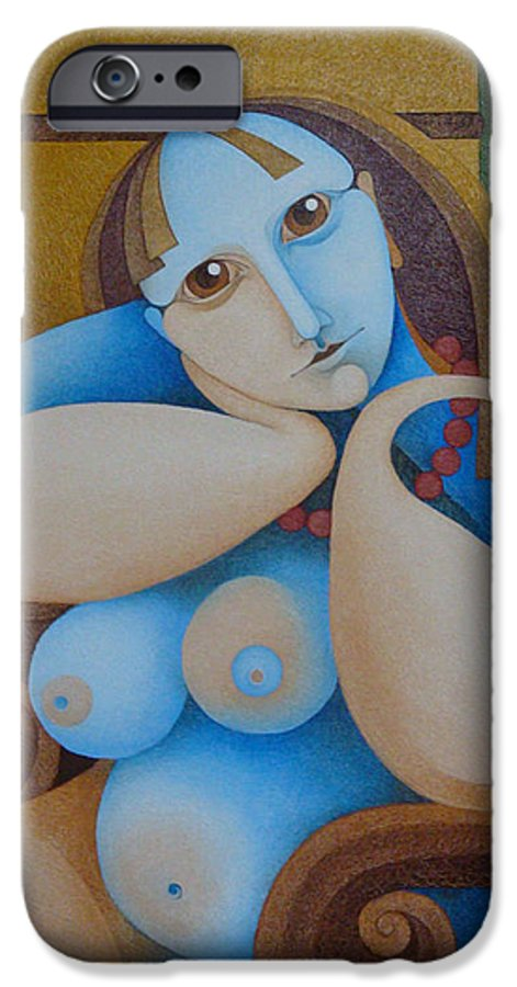 Sacha IPhone 6s Case featuring the painting The Red Chair 2004 by S A C H A - Circulism Technique