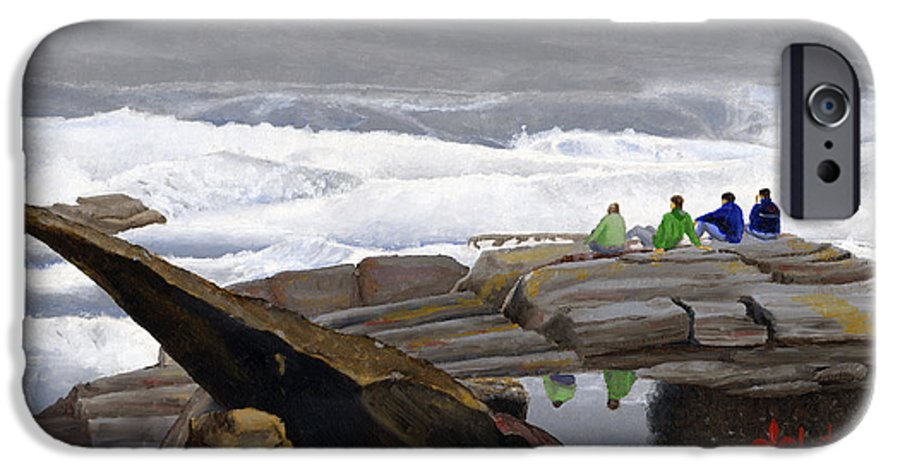 Waves IPhone 6s Case featuring the painting The Wave Watchers by Dominic White