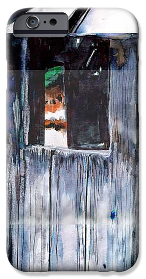 An Old Mysterious Barn With Deep Dark Shadows And Secrets. Rustic And Moody. IPhone 6s Case featuring the drawing Thru The Barn Window by Seth Weaver
