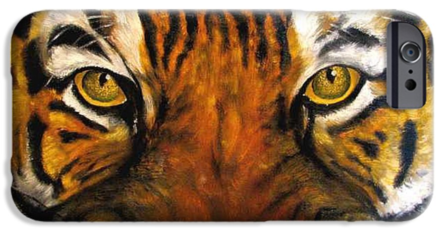 Tiger IPhone 6s Case featuring the painting Tiger Mask Original Oil Painting by Natalja Picugina