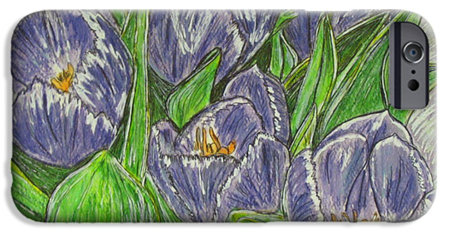 Tulips IPhone 6s Case featuring the painting Tulips In The Spring by Kathy Marrs Chandler