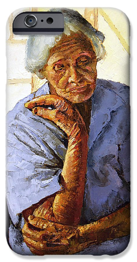 Old Woman IPhone 6s Case featuring the painting Turning Inward by John Lautermilch