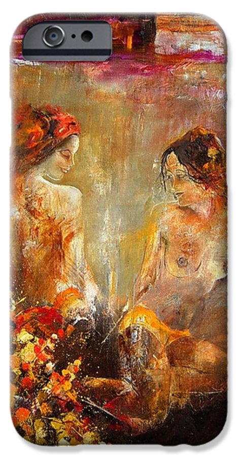 Girl Nude IPhone 6s Case featuring the painting Two Nudes by Pol Ledent