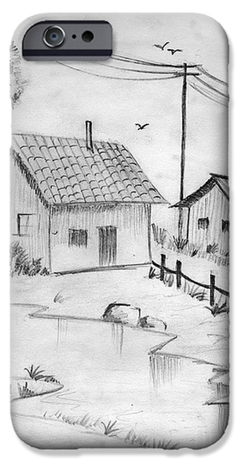 Pencil Drawing IPhone 6s Case featuring the painting Urbanisation Of Villages - Gaon Chale Shahr Ki Oar by Tanmay Singh