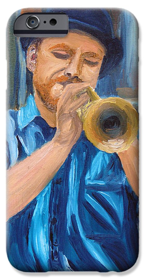Musician IPhone 6s Case featuring the painting Van Gogh Plays The Trumpet by Michael Lee