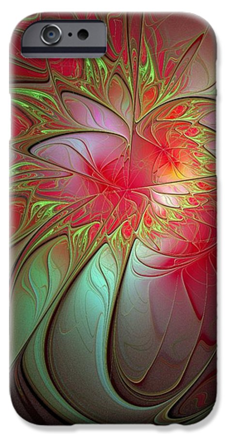 Digital Art IPhone 6s Case featuring the digital art Vase Of Flowers by Amanda Moore