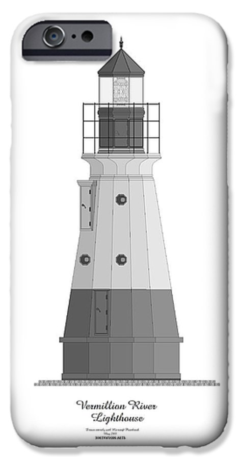 Lighthouse IPhone 6s Case featuring the painting Vermillion River Lighthouse Architectural Rendering by Anne Norskog