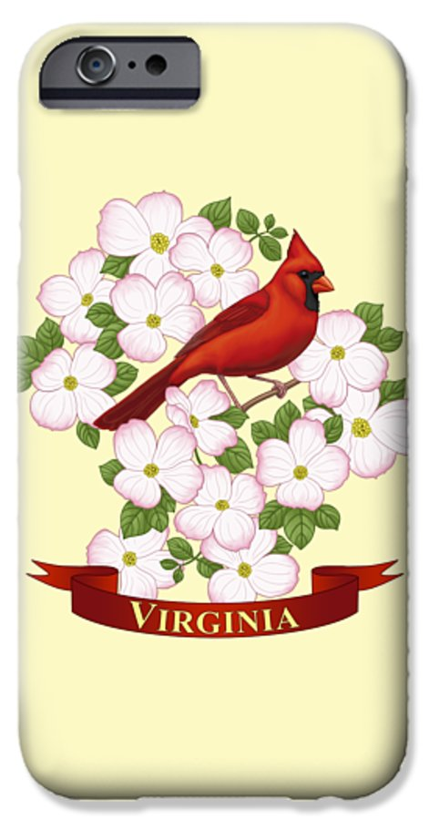 Virginia IPhone 6s Case featuring the painting Virginia State Bird Cardinal And Flowering Dogwood by Crista Forest