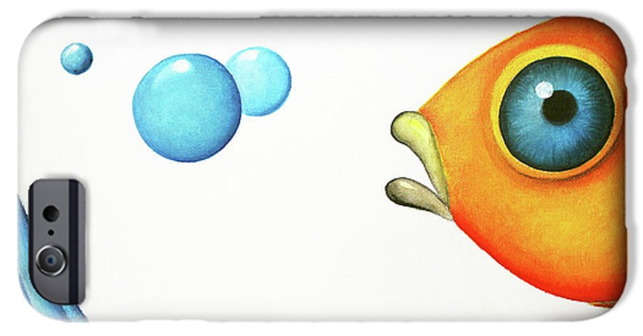 Whimsical Fish IPhone 6s Case featuring the painting Wait Up by Oiyee At Oystudio