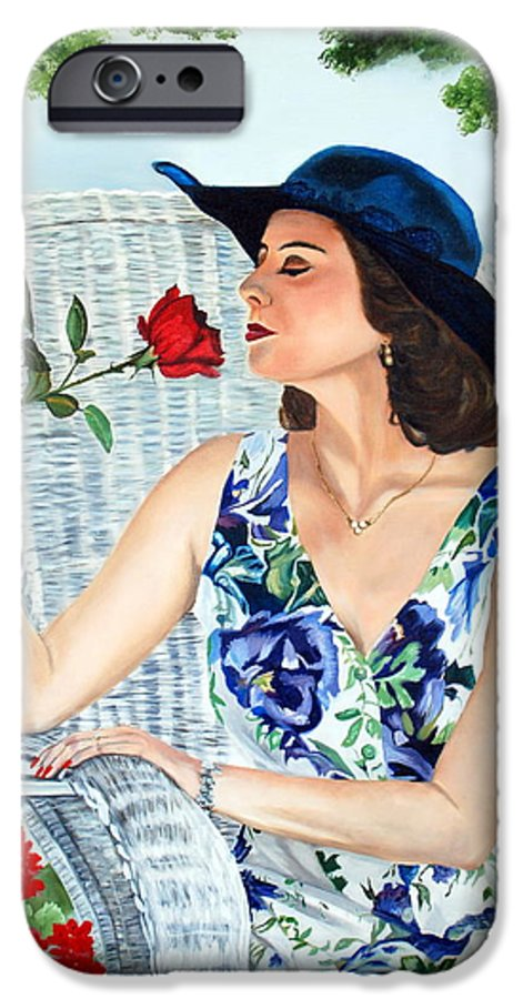 Woman IPhone 6s Case featuring the painting Wake Up And Smell The Rose by Margaret Fortunato