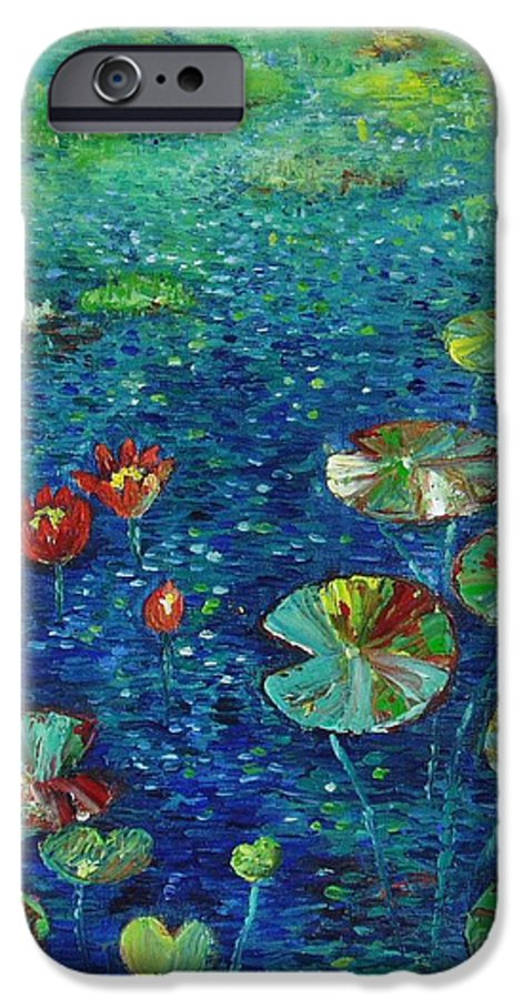 Lotus Paintings IPhone 6s Case featuring the painting Water Lily Lotus Lily Pads Paintings by Seon-Jeong Kim