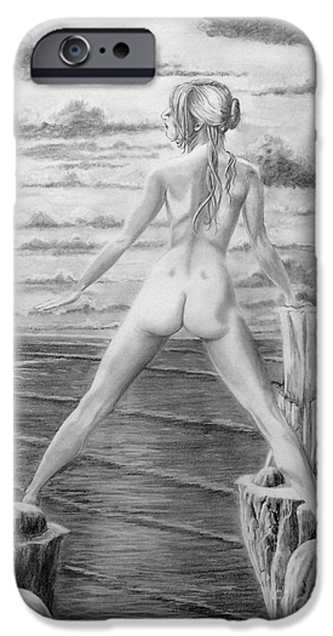 Nude IPhone 6s Case featuring the drawing Wendy From Memory. by Murphy Elliott