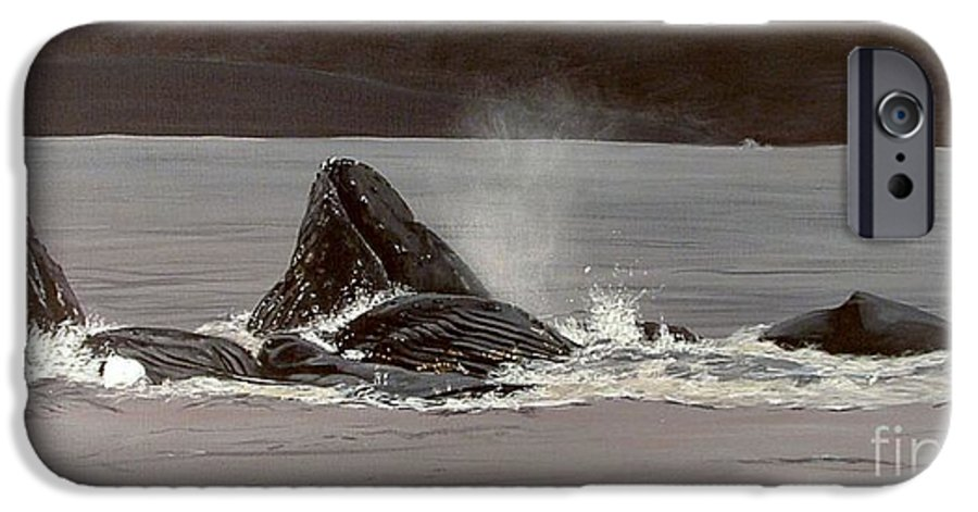 Whale IPhone 6s Case featuring the painting Whales Feeding by Shawn Stallings