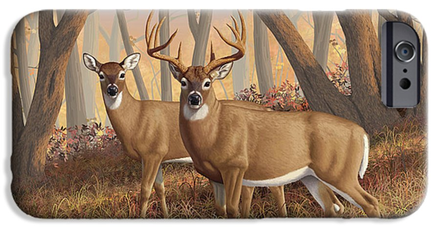 Deers IPhone 6s Case featuring the painting Whitetail Deer Painting - Fall Flame by Crista Forest