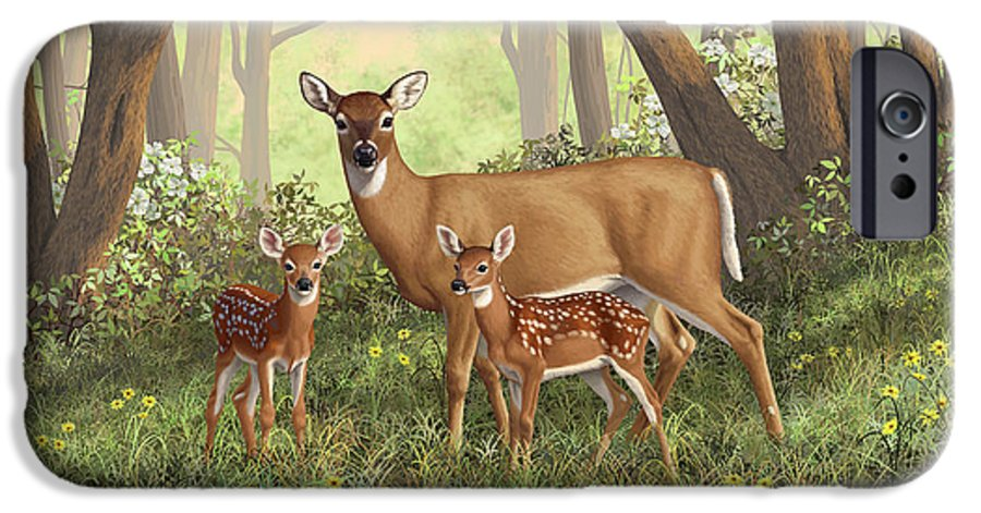 Whitetail Deer IPhone 6s Case featuring the painting Whitetail Doe And Fawns - Mom's Little Spring Blossoms by Crista Forest