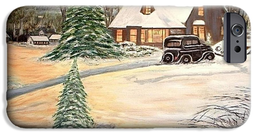 Landscape Home Trees Church Winter IPhone 6s Case featuring the painting Winter Home by Kenneth LePoidevin