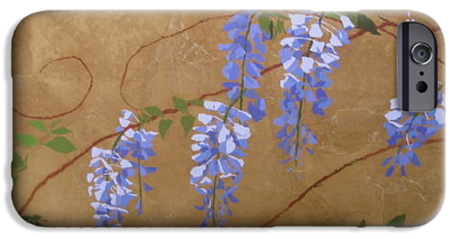 Periwinkle Wisteria Flowers IPhone 6s Case featuring the painting Wisteria by Leah Tomaino