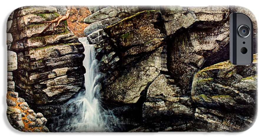 Waterfall IPhone 6s Case featuring the painting Woodland Falls by Frank Wilson
