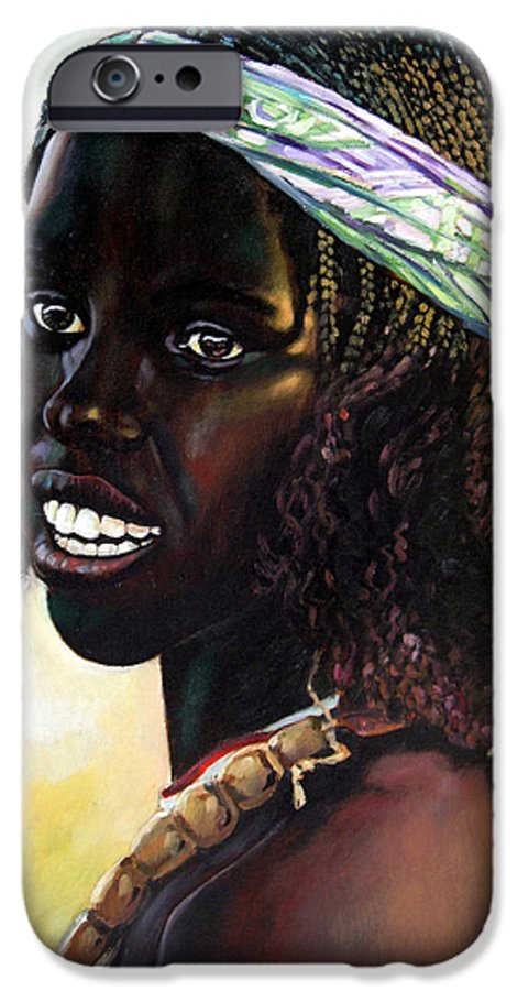 Young Black African Girl IPhone 6s Case featuring the painting Young Black African Girl by John Lautermilch
