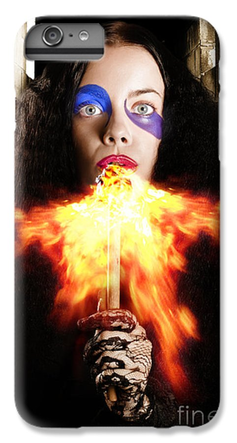 Fire IPhone 6s Plus Case featuring the photograph Medieval Jester Breathing Fire During Carnival Act by Jorgo Photography - Wall Art Gallery