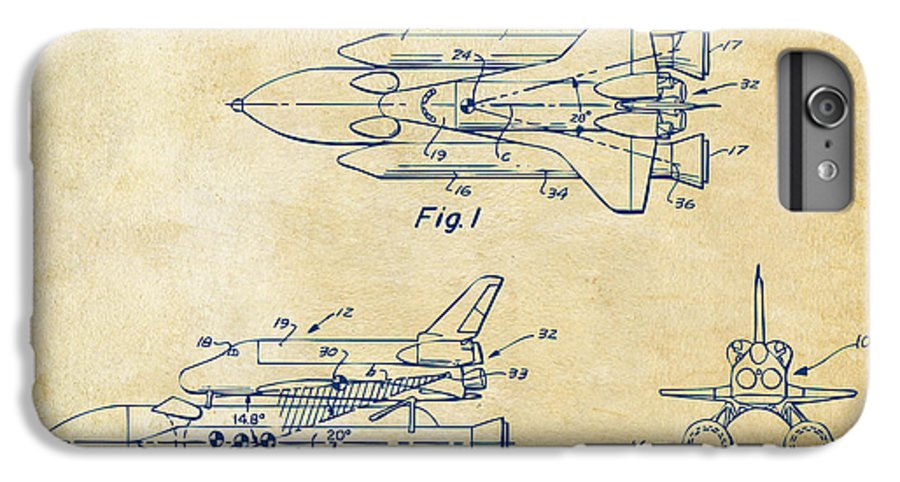 Space Ship IPhone 6s Plus Case featuring the digital art 1975 Space Shuttle Patent - Vintage by Nikki Marie Smith