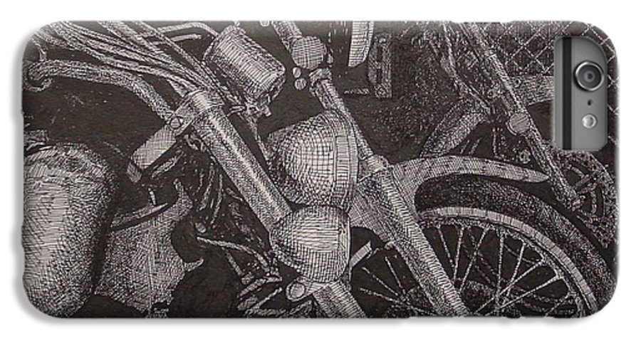 Motorcycles IPhone 6s Plus Case featuring the drawing Bikes by Denis Gloudeman