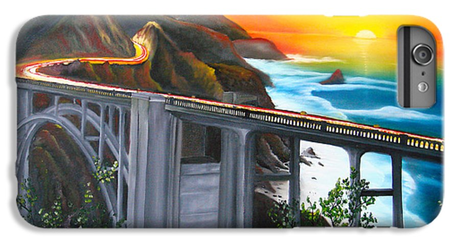 Beautiful California Sunset! IPhone 6s Plus Case featuring the painting Bixby Coastal Bridge Of California At Sunset by Portland Art Creations