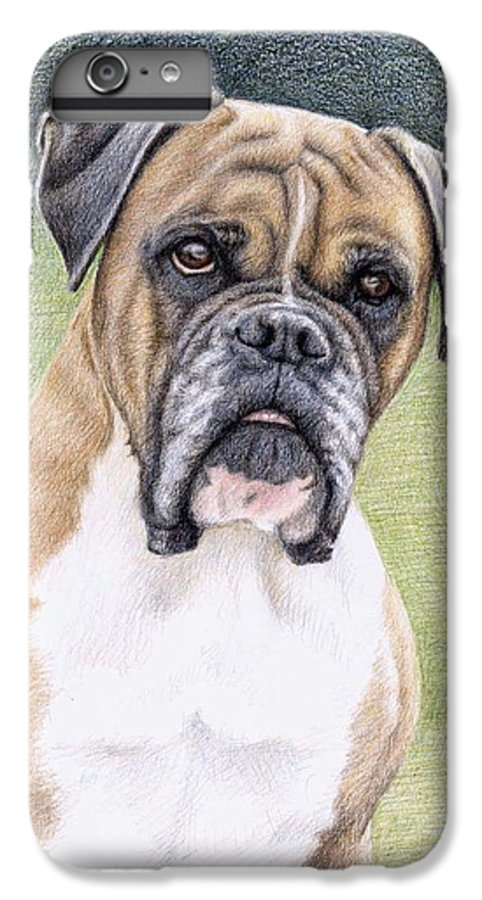 Dog IPhone 6s Plus Case featuring the drawing Boxer Portrait by Nicole Zeug