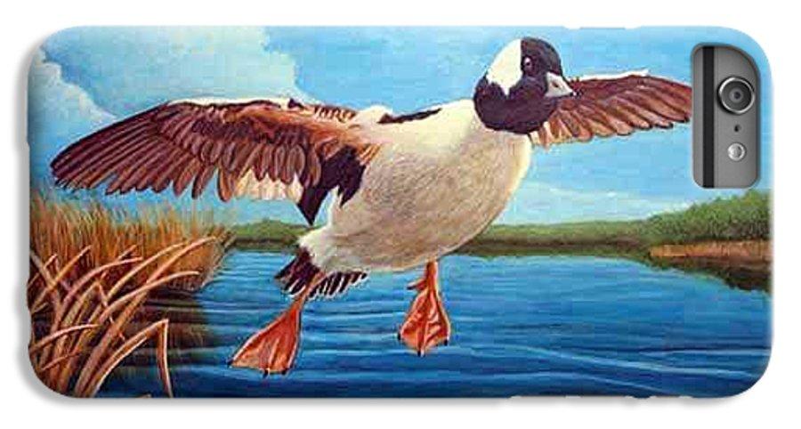 Rick Huotari IPhone 6s Plus Case featuring the painting Buffelhead Duck by Rick Huotari