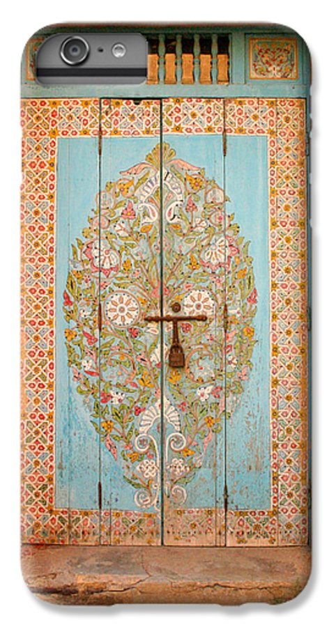 Door IPhone 6s Plus Case featuring the photograph Colourful Moroccan Entrance Door Sale Rabat Morocco by Ralph A Ledergerber-Photography