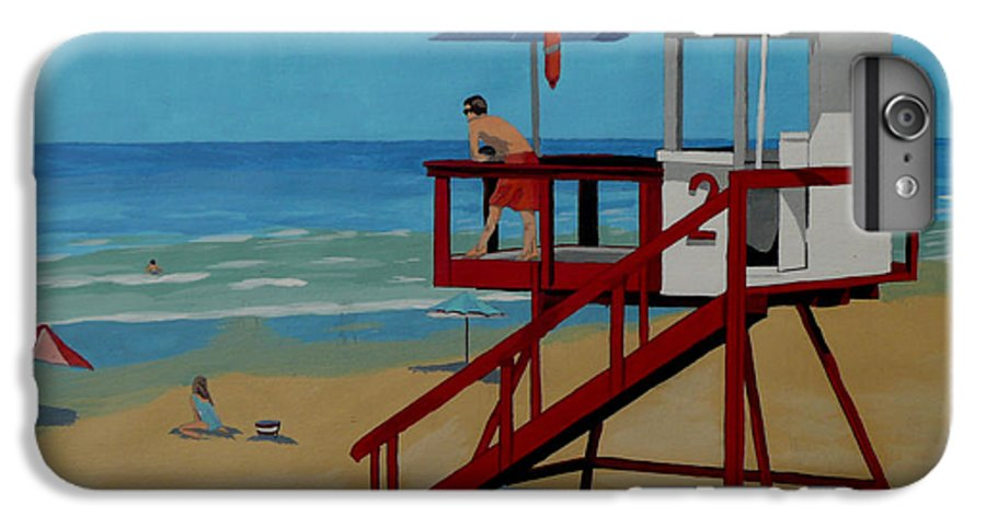 Lifeguard IPhone 6s Plus Case featuring the painting Distracted Lifeguard by Anthony Dunphy