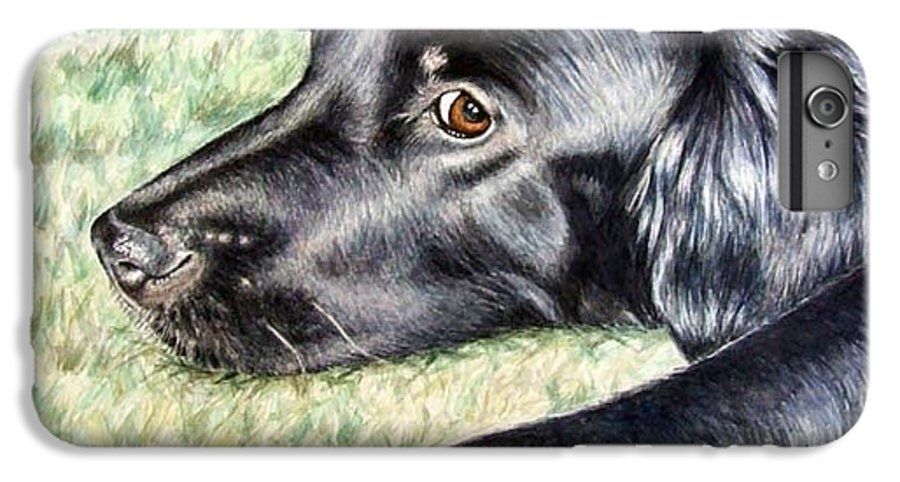 Dog IPhone 6s Plus Case featuring the painting Flat Coated Retriever by Nicole Zeug