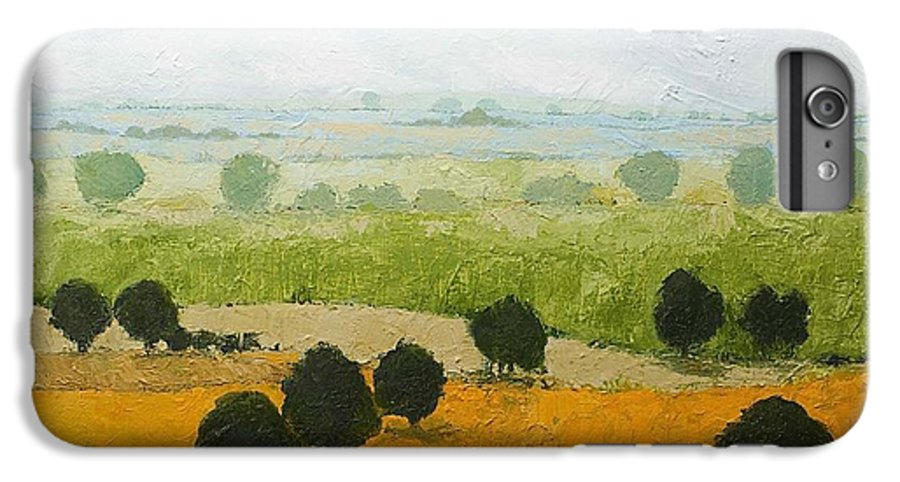 Landscape IPhone 6s Plus Case featuring the painting Fog Lifting Fast by Allan P Friedlander