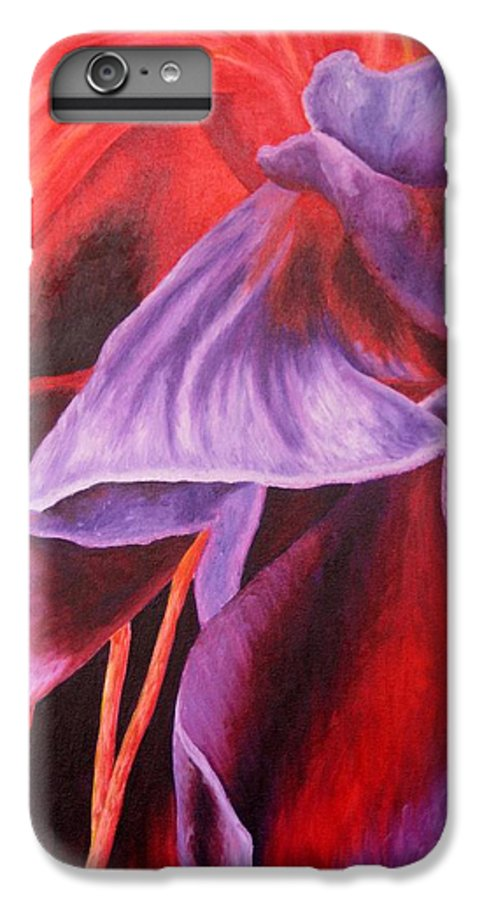 Floral IPhone 6s Plus Case featuring the painting Fuschia Folds by Darla Brock