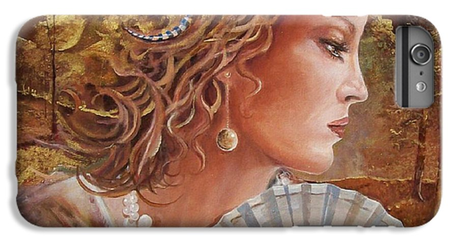 Female Portrait IPhone 6s Plus Case featuring the painting Golden Wood by Sinisa Saratlic