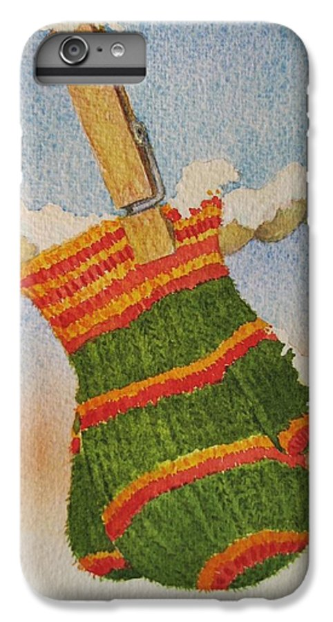 Children IPhone 6s Plus Case featuring the painting Green Mittens by Mary Ellen Mueller Legault