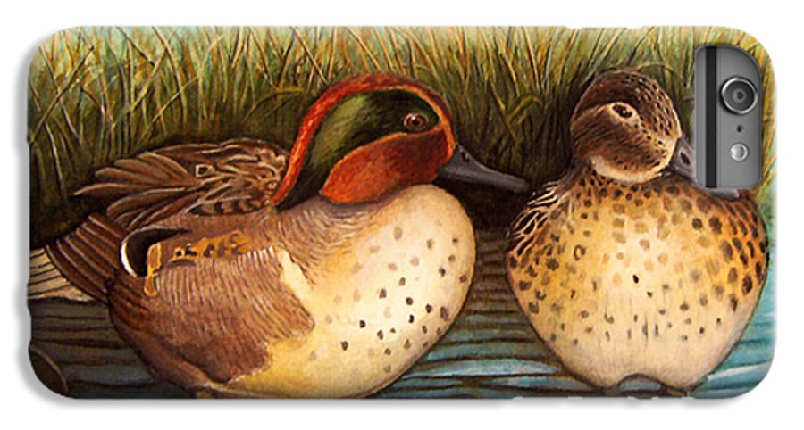 Rick Huotari IPhone 6s Plus Case featuring the painting Green Winged Teal by Rick Huotari