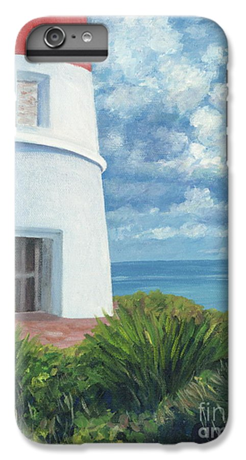 Seascape IPhone 6s Plus Case featuring the painting Gun Cay Lighthouse by Danielle Perry