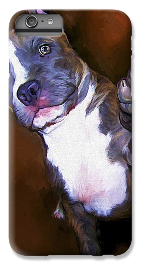 Pit Bull IPhone 6s Plus Case featuring the painting High Four by David Wagner