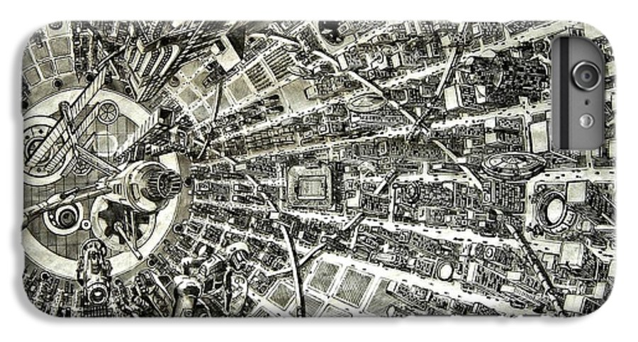Cityscape IPhone 6s Plus Case featuring the drawing Inside Orbital City by Murphy Elliott