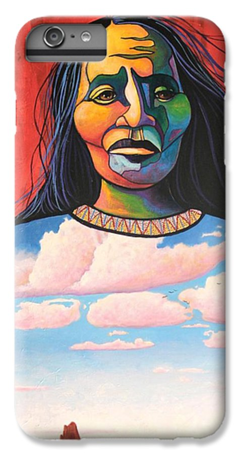 Native American IPhone 6s Plus Case featuring the painting Into Her Spirit by Joe Triano