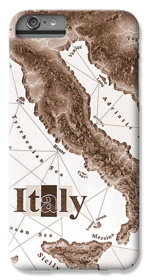 Italian IPhone 6s Plus Case featuring the mixed media Italian Map by Curtiss Shaffer