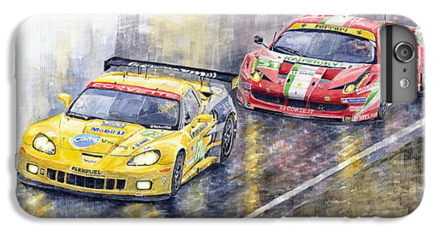 Watercolor IPhone 6s Plus Case featuring the painting 2011 Le Mans Gte Pro Chevrolette Corvette C6r Vs Ferrari 458 Italia by Yuriy Shevchuk