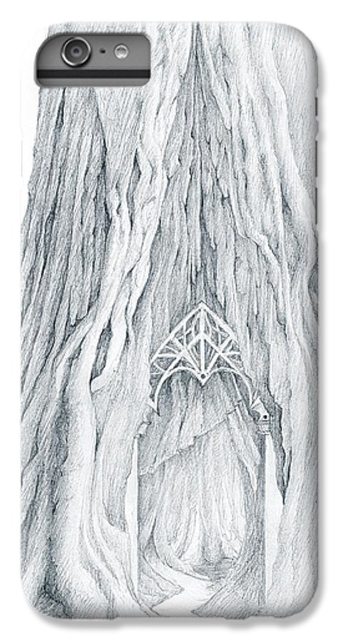 Lothlorien IPhone 6s Plus Case featuring the drawing Lothlorien Mallorn Tree by Curtiss Shaffer