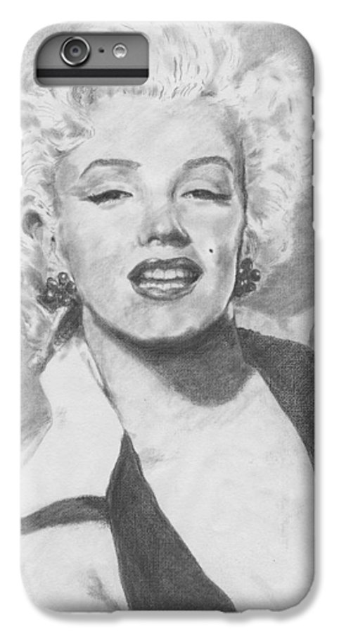 Marilyn IPhone 6s Plus Case featuring the drawing Marilyn. by Janice Gell
