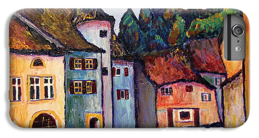 Medieval IPhone 6s Plus Case featuring the painting Medieval Village Of St. Ursanne Switzerland by Art Nomad Sandra Hansen